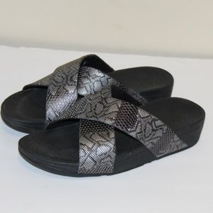 FitFlop Lulu Python Cross Slide Sandals 10